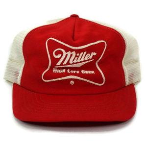 Vtg Miller High Life Snapback Mesh Hat Trucker